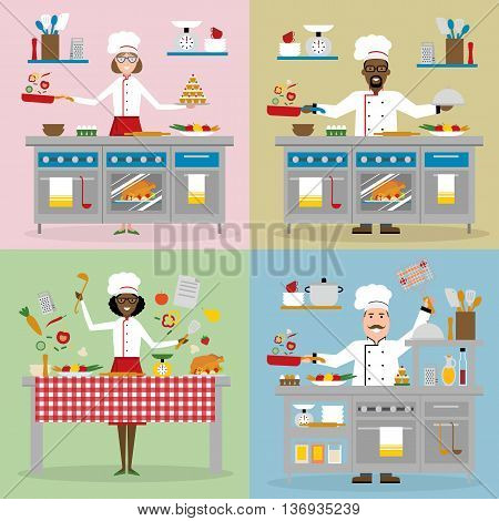 Chefs cooking set. Chefs with cooking table, restaurant and cafe equipment. Master class, workshop. Chefs holding pan, ladle, using oven, chopping vegetables, holding cake, frying, bbq and more.