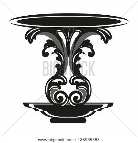 Baroque Royal Table with luxury ornament in Black. Vector furniture with engraved ornaments