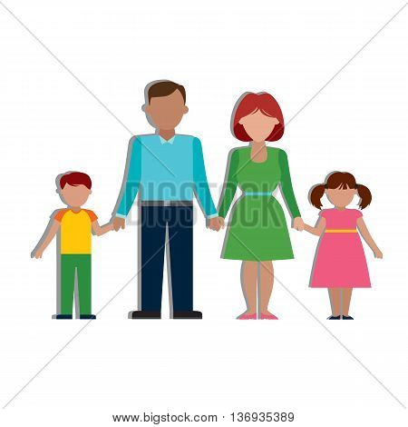 Multicultural traditional family with parents and children. Happy family. Boy and girl.