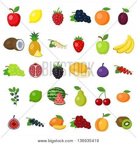 Fruits set on white. fruits including apple, lemon, raspberry, grape, orange, plum, coconut, pineapple, white currant, strawberry, banana, pomegranat, blackberry, melon, fig, lime, pear, cherry, kiwi.