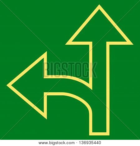Split Direction Left Forward vector icon. Style is outline icon symbol, yellow color, green background.