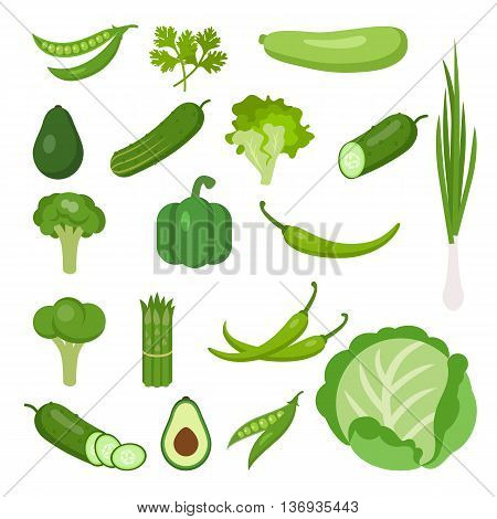 Vegetables set on white. All the fresh and healthy vegetables including peas, parsley, marrow, avocado, cucumber, lettuce, onion, broccoli, pepper, chili, cauliflower, asparagus, cabbage.