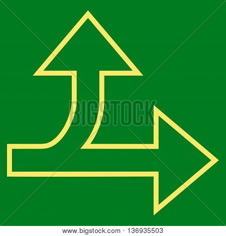 Split Direction Right Forward vector icon. Style is contour icon symbol, yellow color, green background.