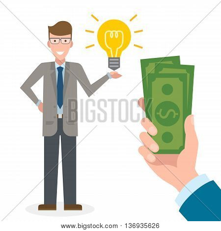 Businessman gets money for the idea. Handsome businessman has idea bulb. Selling new ideas, getting money. Funding concept. Money bag.