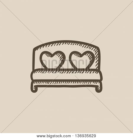 Heart shaped pillows on bed vector sketch icon isolated on background. Hand drawn Heart shaped pillows on bed icon. Heart shaped pillows on bed sketch icon for infographic, website or app.