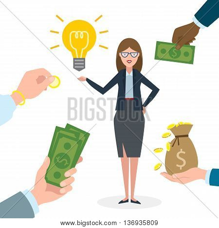 Businesswoman gets money for the idea. Beautiful businesswoman has idea bulb. Selling new ideas, getting money. Funding concept.