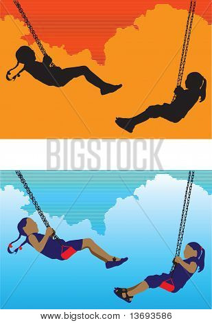 Two Girl On A Swing Vector
