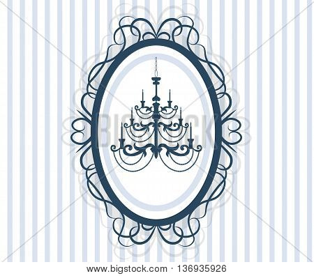 Vintage Frame Card with antique chandelier made in hand drawn style. Illustration of baroque lamp. Template for cards poster and banner