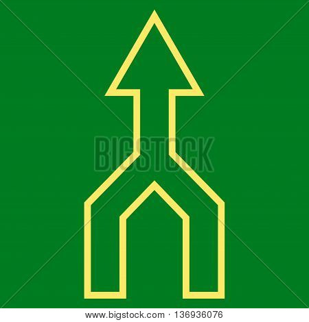 Unite Arrow Up vector icon. Style is outline icon symbol, yellow color, green background.