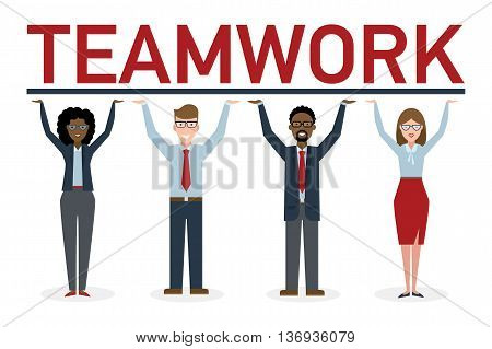 Teamwork concept. Four businessmen holding placard teamwork. Success in business, career and communication. Happy partership helps find solution and achieve success.