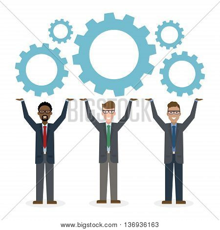 Team building concept. Three businessmen holding gears. Solving problems, meeting new people, planning strategy together. Positive work in team.
