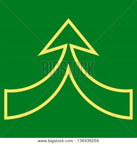 Unite Arrow Up vector icon. Style is stroke icon symbol, yellow color, green background.