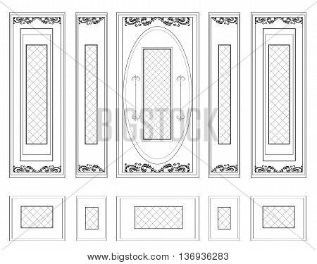 Vector Wall Frames wainscoting Decorative Damask Ornamented. Frames for walls or backgrounds. Interior design decoration panels. Classic Baroque Vintage style frames