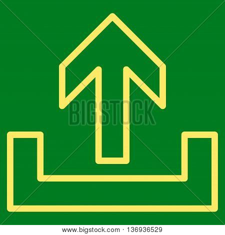 Upload vector icon. Style is thin line icon symbol, yellow color, green background.