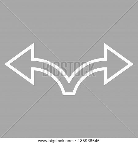 Bifurcation Arrow Left Right vector icon. Style is thin line icon symbol, white color, silver background.