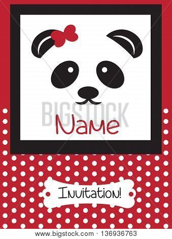 Invitation Card retro dotted pattern background. Vector Panda bear card for birthday party ceremony. Red color Retro card