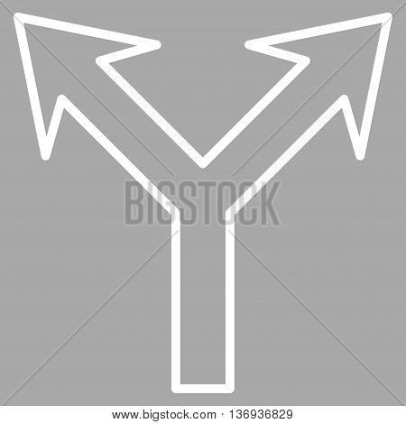 Bifurcation Arrow Up vector icon. Style is outline icon symbol, white color, silver background.
