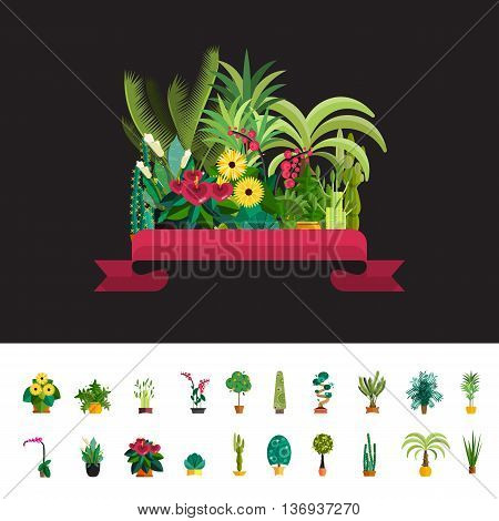 Florist shop.Plants composition.Flower store flat design.Plants in floristic shop.Sale in flower shop.Shopping plant store.Big flower sale.Plants composition with flowers, trees and potted plants.