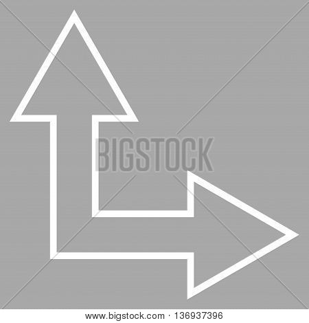 Choice Arrow Right Up vector icon. Style is contour icon symbol, white color, silver background.