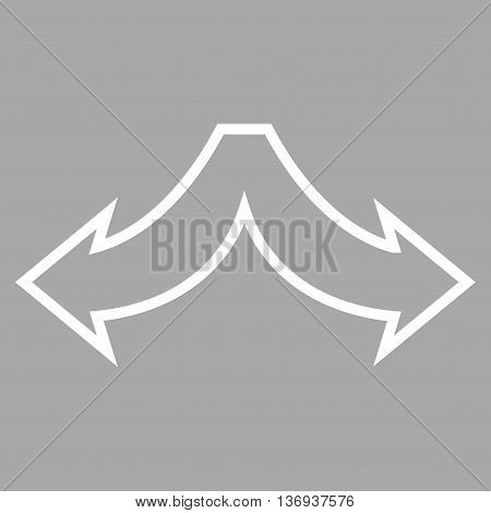 Choice Arrows Left Right vector icon. Style is thin line icon symbol, white color, silver background.