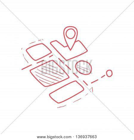 On-line Map Part With Marked Destination Hand Drawn Childish Illustration In Funny Comic Style On White Background