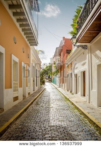 Colorful street in Old San Juan Puerto Rico