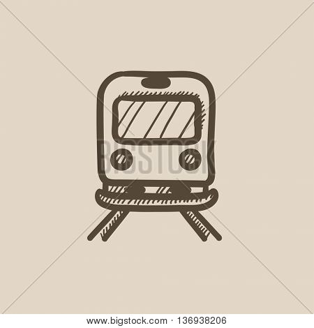 Back view of train vector sketch icon isolated on background. Hand drawn Back view of train icon. Back view of train sketch icon for infographic, website or app.