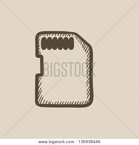 Memory card vector sketch icon isolated on background. Hand drawn Memory card icon. Memory card sketch icon for infographic, website or app.