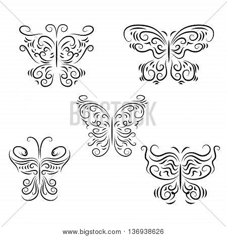 The set a decorative beautiful graphically butterflies