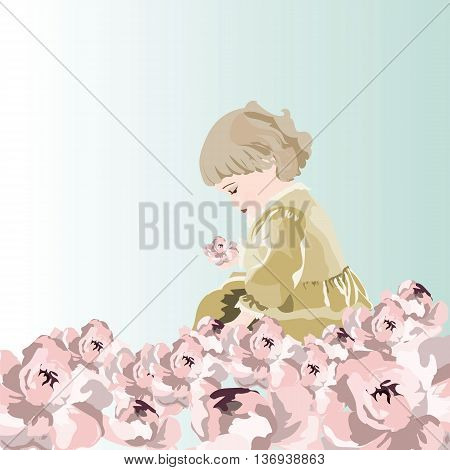 Little baby girl playing in a garden of peonies flowers. Vector beautiful cute illustration for Children's Day