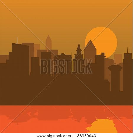 Cityscape with flat color design. Evening cityscape vector illustration. Sunset landscape concept and city at the river with reflection.