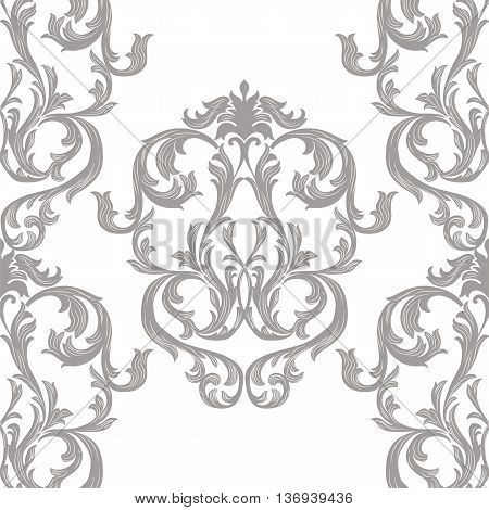 Vector Vintage Damask Pattern ornament Royal style. Ornate floral acanthus element for fabric textile design wedding invitation greeting cards. Gray and white color