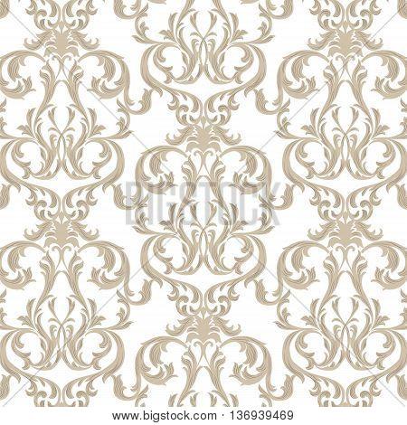 Vector Vintage Damask Pattern ornament Royal style. Ornate floral acanthus pattern for fabric textile design wedding invitation cards. Gold color