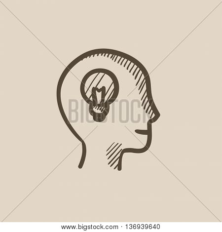Human head with idea vector sketch icon isolated on background. Hand drawn Human head with idea icon. Human head with idea sketch icon for infographic, website or app.