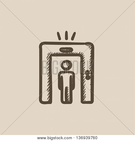 Man going through metal detector gate vector sketch icon isolated on background. Hand drawn Man and metal detector gate icon. Man and metal detector gate sketch icon for infographic, website or app.