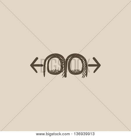 Two finger scroll touch screen gesture vector sketch icon isolated on background. Hand drawn Scroll touch screen gesture icon. Scroll touch screen gesture sketch icon for infographic, website or app.