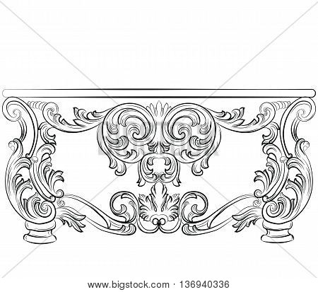 Fabulous Rich Rococo Desk Table. French Luxury rich carved ornaments furniture. Vector Victorian wealthy Style furniture