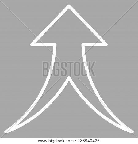 Merge Arrow Up vector icon. Style is outline icon symbol, white color, silver background.