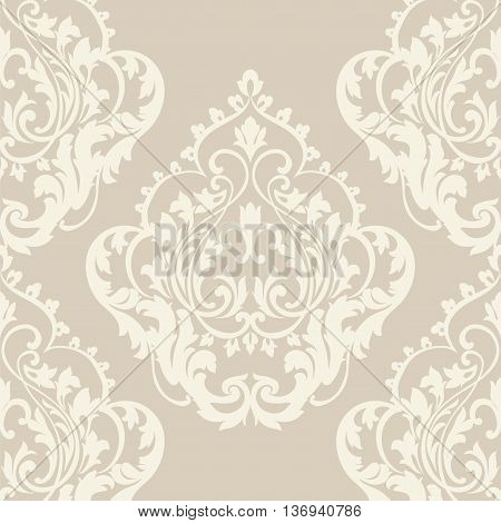 Vector floral damask pattern background. Luxury classic floral damask ornament royal Victorian vintage texture for textile fabric. Beige Floral baroque element