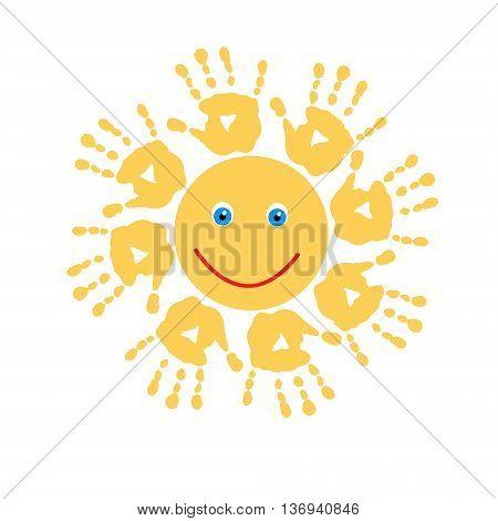 The joyful cute sun of a handprints