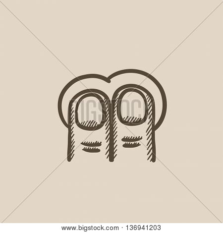 Two finger tap touch screen gesture vector sketch icon isolated on background. Hand drawn touch screen gesture icon. Two finger tap touch screen gesture sketch icon for infographic, website or app.