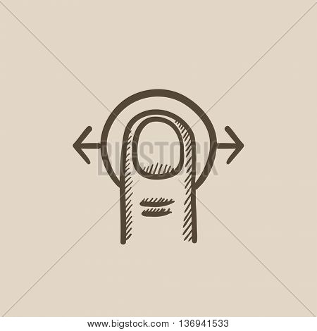 Drag horizontally touch screen gesture vector sketch icon isolated on background. Hand drawn Drag horizontally touch screen gesture icon. Drag horizontally sketch icon for infographic, website or app.