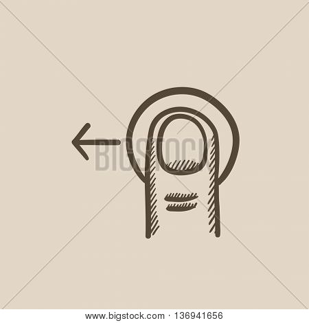 Drag left touch screen gesture vector sketch icon isolated on background. Hand drawn drag left touch screen gesture icon. Drag left touch screen gesture sketch icon for infographic, website or app.