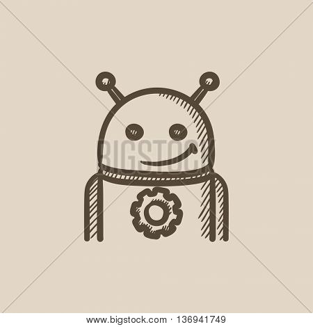Robot with gear vector sketch icon isolated on background. Hand drawn Robot with gear icon. Robot with gear sketch icon for infographic, website or app.