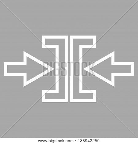Pressure Arrows Horizontal vector icon. Style is contour icon symbol, white color, silver background.