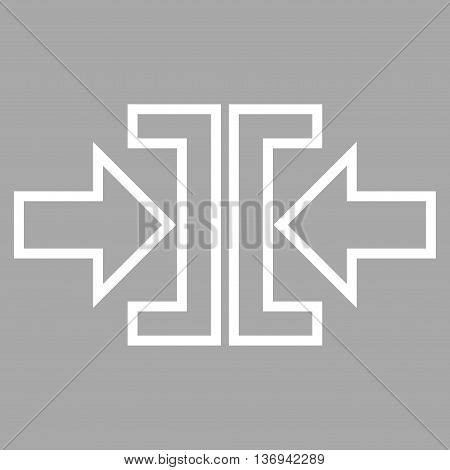 Pressure Arrows Horizontal vector icon. Style is outline icon symbol, white color, silver background.