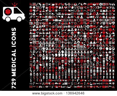 Medical Icon Set with 729 vector icons. Style is bicolor red and white flat icons isolated on a black background.
