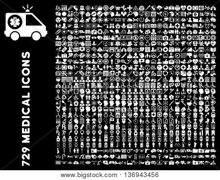 Medical Icon Set with 729 vector icons. Style is white flat icons isolated on a black background.