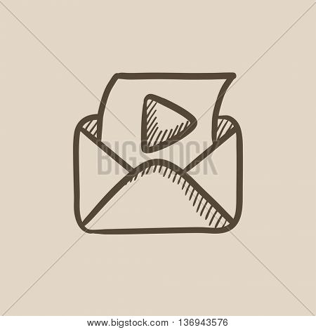 Envelope mail with play button vector sketch icon isolated on background. Hand drawn Envelope mail with play button icon. Envelope mail with play button sketch icon for infographic, website or app.