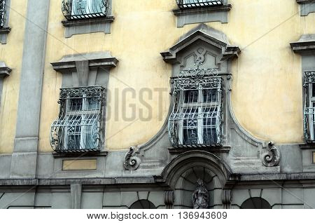 old facade of houses in the city of vienna